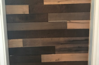 weathered plank accent wall